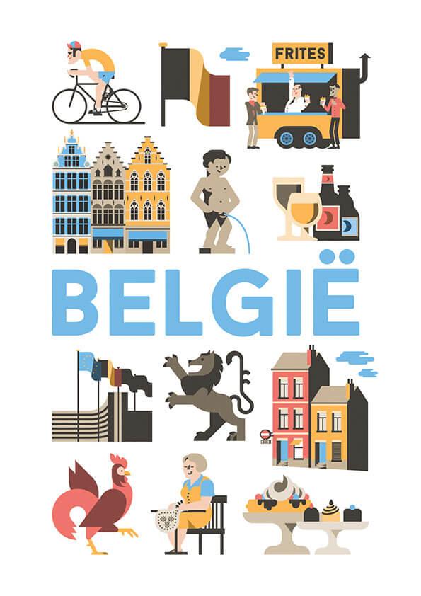 België poster en souvenirs