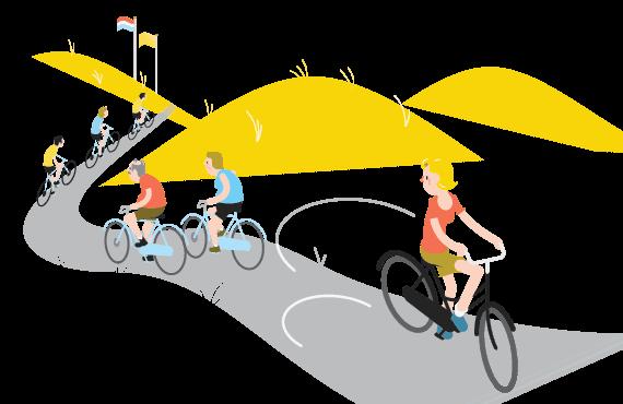 Illustraties Fietsersbond fietsen tijdens Corona