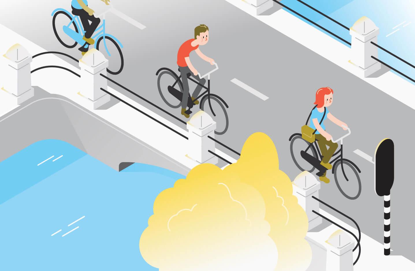 Illustraties Fietsersbond veilig fietsen tijdens Corona